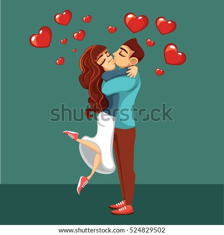 Happy Valentines card. Two people hugging.