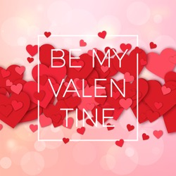 Happy valentines day and weeding design elements. Vector illustration. Pink Background With Ornaments, Hearts. Doodles and curls. Be my Valentine.