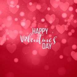 Happy valentines day and weeding design elements. Vector illustration. Pink Background With Ornaments, confetti, lettering, Hearts, lights, bokeh. Doodles and curls. Be my Valentine.