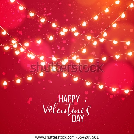 Happy valentines day and weeding design elements. Vector illustration. Pink Background With Ornaments, confetti, lettering, Hearts, lights. Doodles and curls. Be my Valentine.