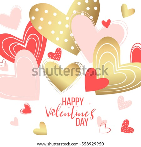 Happy valentines day and weeding design elements. Vector illustration. Pink Background With Ornaments, confetti, lettering, Hearts. Doodles and curls. Be my Valentine. Pink, red, gold, menu, flyer.