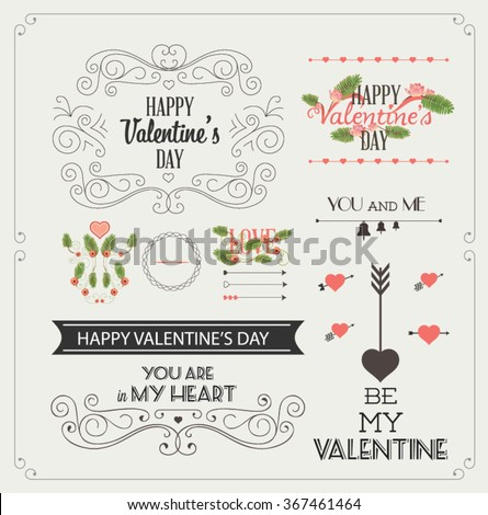 Happy valentines day and weeding design elements. Vintage labels and ribbon retro style set. Vector elements. #367461464