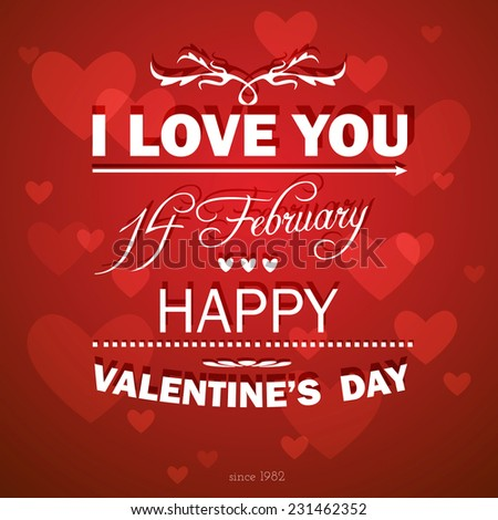 Happy Valentines Day background. I Love You background.14 February.Vector illustration