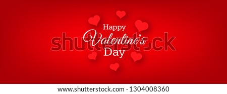 Happy Valentines Day Background. Red greeting horizontal banner with text and hearts. Vector illustration. #1304008360