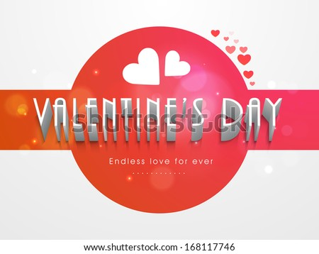 Happy valentines day background with stylish text and heart shape on red and grey background.