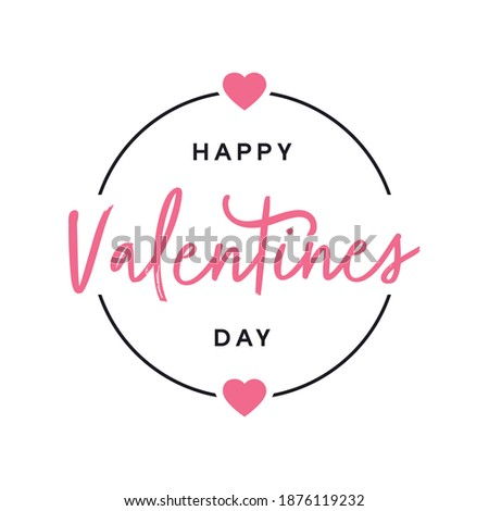 Happy Valentines Day Badge Logo With Handwritten Style Typography and Love Heart Illustration. Valentines Text Typography Design Template on White Background for Banner, Greeting Card, Social Post etc