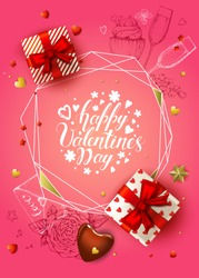 Happy Valentines day banner. 3d realistic gift box, chocolate heart, stars. Sketch glass of champagne, cake, envelope, flowers. Romantic pink vector background. Hand drawn lettering. Polygonal frame