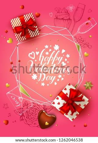 happy valentines day banner 3d