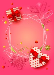 Happy Valentines day banner. 3d realistic gift box shaped heart, star and serpentines. Sketch glass of champagne, cake, envelope and flowers. Romantic pink vector background. Top view. Polygonal frame