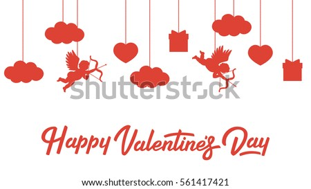 Happy Valentines Day Banner With Cupids, Hearts, Gifts And Clouds.  Lettering. Vector