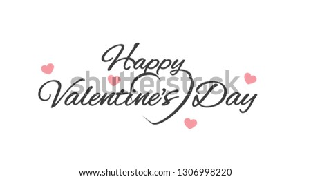 Happy Valentines Day banner with hearts and handwritten calligraphy isolated on white background #1306998220