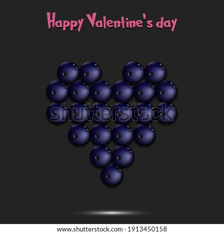 Happy Valentines Day. Bowling balls located in the form of a heart. Design pattern on the bowling theme for greeting card, logo, emblem, banner, poster, flyer, badges. Vector illustration