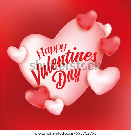 Happy valentines day card and background design with love heart #555912958