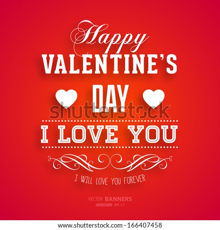 Happy Valentines Day Card Design. 14 February. I Love You. Vector #166407458