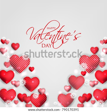 Happy Valentines day card Invitation. Wedding card red hearts background #790170391
