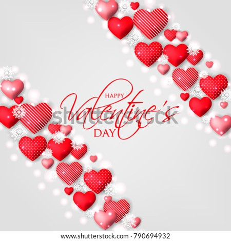 Happy Valentines day card Invitation. Wedding card red hearts background #790694932