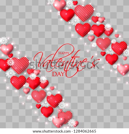 Happy Valentines day card Invitation. Wedding card red hearts on  background #1284062665