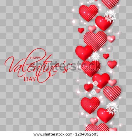 Happy Valentines day card Invitation. Wedding card red hearts on  background #1284062683