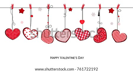 Happy Valentines Day card with hanging Love Valentines cute red hearts background #761722192