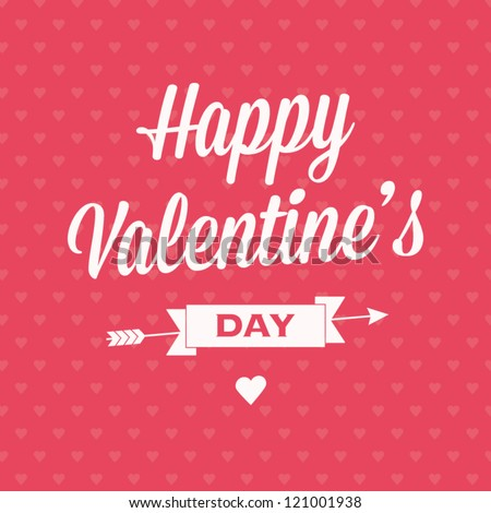 Happy Valentines day card with ribbon and background pattern seamless heart