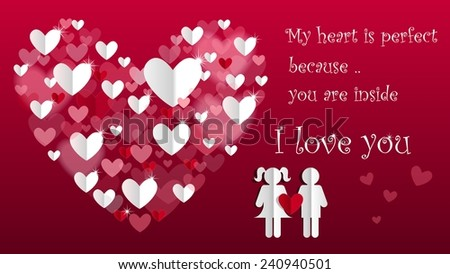 Happy Valentines Day card with sweet quote. Vector illustration #240940501