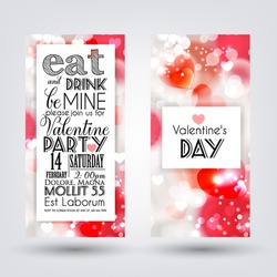 Happy valentines day cards with ornaments, hearts, ribbon, angel and arrow/ All you need is love