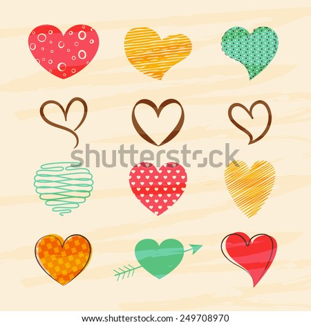 Shutterstock Happy Valentines Day celebration greeting card with colorful creative hearts.