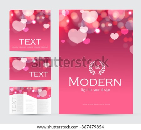 Happy Valentines Day Flyer, Cover & Poster Template. Vector illustration