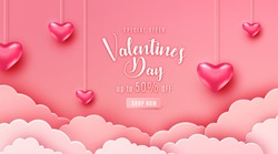 Happy valentines day greeting background in papercut realistic style. Paper clouds, flying realistic heart on string. Pink banner party invitation template. Calligraphy words text sign on copy space.