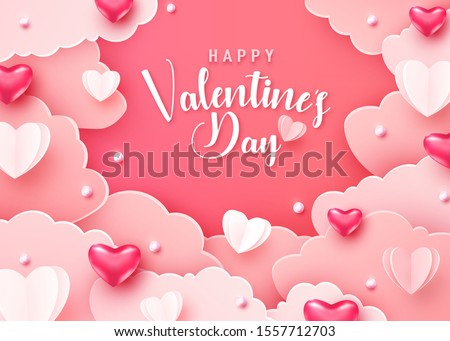 Happy valentines day greeting background in papercut realistic style. Paper clouds hearts and realistic pearls border frame. Banner party invitation, sale poster template. Calligraphy words text sign