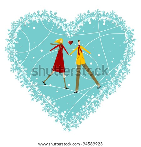 Happy valentines day greeting card background: young couple in winter clothes taked hands with heart likes shape behind. Vector file available. - stock vector