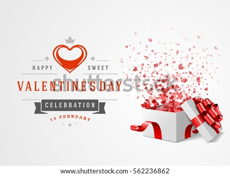 Happy Valentines day Greeting Card Design and Gift Box with hearts confetti Vector Background. Vintage Label Template.