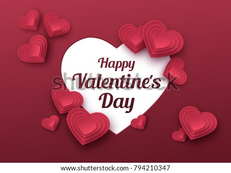 Happy Valentines Day greeting card. Paper art, love and wedding. Red paper hearts in style of origami. Vector
