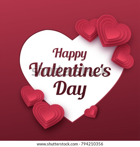 Happy Valentines Day greeting card. Paper art, love and wedding. Red paper hearts in style of origami. Vector illustration #794210356