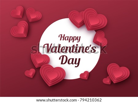 Happy Valentines Day greeting card. Paper art, love and wedding. Red paper hearts in style of origami. Vector illustration