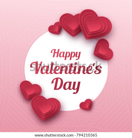 Happy Valentines Day greeting card. Paper art, love and wedding. Red paper hearts in style of origami. Vector #794210365