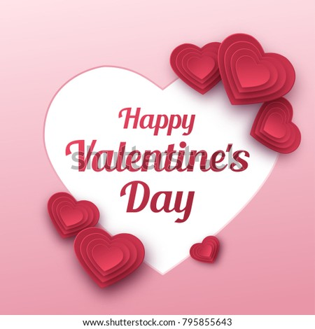 Happy Valentines Day greeting card. Paper art, love and wedding. Red paper hearts in style of origami. Vector #795855643