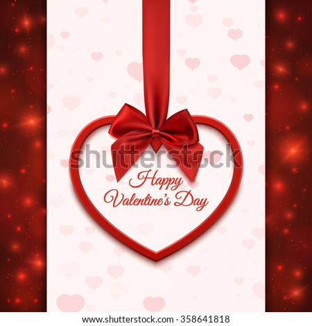 Happy Valentines day greeting card template. Red heart with red ribbon and bow, on abstract background with hearts and particles. Vector illustration.