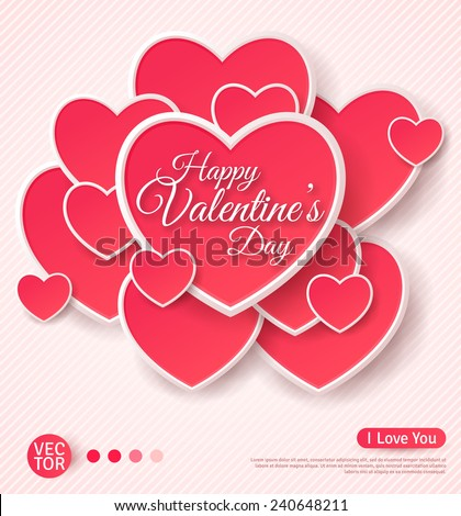 Happy Valentines Day Greeting Card. Vector illustration. Heart Shape Design Template. Lovely Valentine Frame with Many Hearts. Mothers Day Design.