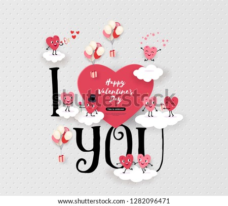 Happy Valentines Day greeting card with a pair of animated hearts, inscription I love you