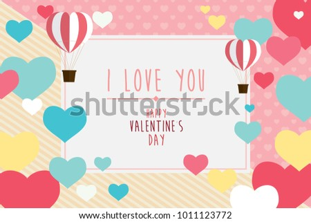 Happy valentines day greeting card with hearts and balloon, background abstract illustration vector #1011123772