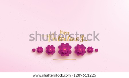 Happy Valentines Day greeting card with pink and purple flower rose shape horizontal or landscape. floral background concept suitable for copy space text, invitation, posters, brochure, banners #1289611225