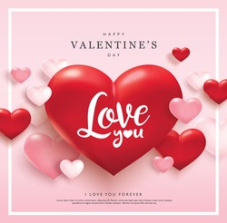 Happy Valentines Day greeting card with pink and red hearts