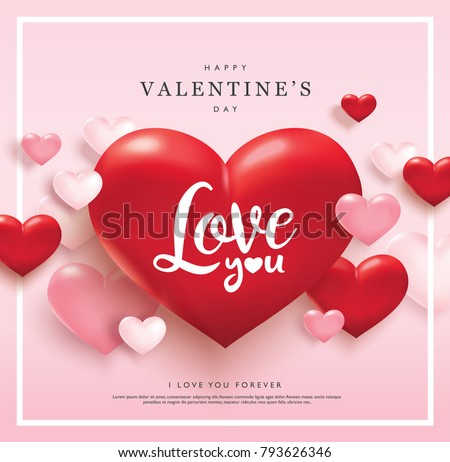 Happy valentines day red heart vector design illustration download happy valentines day greeting card with pink and red hearts m4hsunfo Images