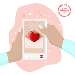 Happy Valentines Day greeting vector banner with cute 3d heart in pink envelope emailing at cellphone screen, hands holding phone. Online dating during coronavirus covid-19 quarantine. Festive design