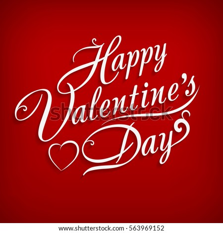 Happy Valentines Day hand drawing inscription. Happy valentine's day text on red background. Lettering design vector illustration