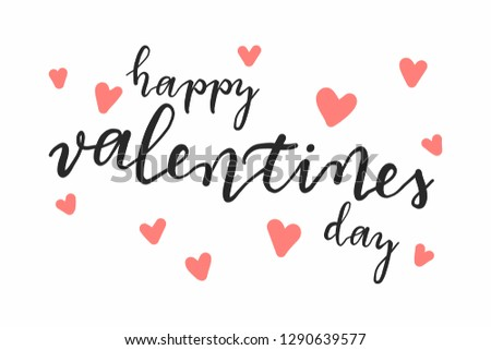 Happy Valentines Day Hand Drawing Vector Lettering design. #1290639577