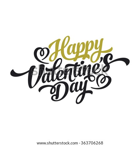 Happy Valentines Day Hand Drawing Vector Lettering design.