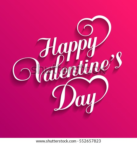 Happy Valentines Day Hand Drawing Vector Lettering design - vector illustration.