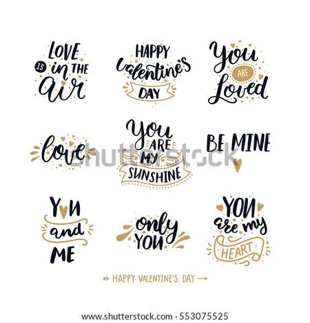 Happy valentines day, hand drawn text. Typography font on white background. Vector photo overlays, Black and gold